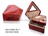 Joyero de cuero rojo de la PU con bandeja bloqueable