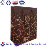 Bolso del regalo del color del café de las bolsas de papel de Kraft de las compras de la alta calidad con la maneta