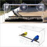 Alimentatore acrilico dell'uccello della finestra con il cassetto smontabile, i fori di scolo e 3 tazze di aspirazione