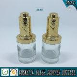 bouteille en verre de compte-gouttes de pompe de presse du cylindre 25ml