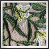 Flor do laço do bordado de Tulle do poliéster e laço bordado folha