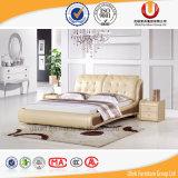 Кровать европейской французской твердой кожи деревянной рамки мягкая (UL-FT809A)