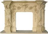 Mensola del camino di marmo bianca intagliata progettata del camino del calcare