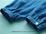 Camiseta larga del azul de la funda del algodón fresco de la impresión 100