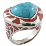 De met de hand gemaakte Ovale Turkooise Ring van Mens van de Steen