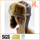Chapeau de l'hiver d'Ushanka de Lambskin et de fourrure artificielle avec l'aileron d'oreille