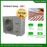 Muito bomba de calor Monoblock do inversor da C.C. do quarto 12kw/19kw/35kw/70kw Auto-Defrsot Evi do medidor do aquecimento 100~300sq do radiador do inverno de Cold-25c