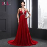 Halter Lace up Beading Sleeveless Evening Dress (SL2012)