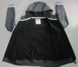 Yj-1068 소년 Mens 검정 방수 Breathable Microfleece 두건이 있는 Softshell 재킷