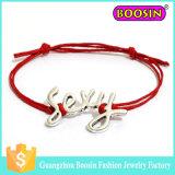 "Da corda feita sob encomenda do couro do logotipo da infinidade de Fasihon bracelete ""sexy"" afortunado do encanto"