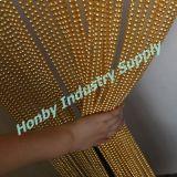Tela de suspensão da cortina da corrente da esfera de metal do ouro do Shimmer
