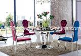 5人の円形の緩和されたガラス表のホーム家具