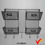 Wand-hängendes Speicher-Lösungs-rustikales Retro graues Draht-Metallregal