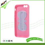caja suave del teléfono del silicón de Kickstand del Bowknot 3D para el iPhone 6
