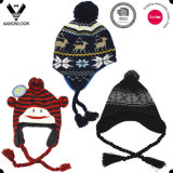 Sombrero multicolor con estilo del Knit del telar jacquar de la geometría 2016 con el Pompom