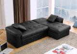 Черная самомоднейшая кровать софы PVC Semi-PU угловойая