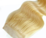 Hairpieces de face de base en soie blonds de fermeture des accessoires #613 de cheveu du lacet 4*4