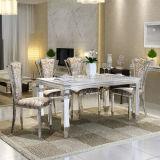 Speisen moderne Marmorspitzendes metallbein-populären Tisches und des Stuhls