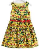 Alineada de la muchacha de flor del algodón de la manera en vestido de los niños con ropa de los niños