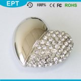 8GB Silver Crystal Heart Shape Jewelry USB Flash Drive mit Necklace