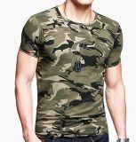 Camiseta 100% de Camo de la impresión del pigmento del algodón