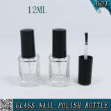 Bouteille en verre carrée de balai de vernis à ongles de l'espace libre 12ml de forme