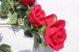 Silk rote Rosen-künstliche Blumen-gefälschte Blumen für Hochzeits-Dekoration