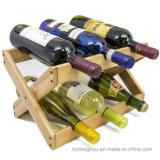 Estante plegable de madera 6-Bottles del vino de la encimera