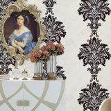 Papel pintado clásico del estilo del precio del damasco barato italiano de la venta al por mayor lavable