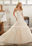 Cream Lace Wedding Gowns A-Line Tulle Bridal Dresses Lm8101
