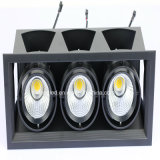 Recessed COB LED Grille Lamp 3 * 12W Three Heads Downlight com 15 graus