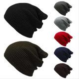 2017 최신 판매 모자, 100% 아크릴 자유롭게 뜨개질을 한 긴 베레모 모자, 무능력자 베레모 모자, 뜨개질을 한 모자