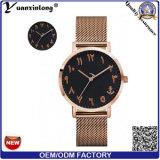 Nuevos hombres árabes del reloj del número de la venda de acero del acoplamiento de la muñeca de señora reloj de la placa de oro de los relojes de la manera del reloj del cuarzo del diseño Yxl-408 2016