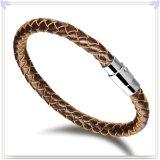 De Armband van het Leer van de Armband van het Roestvrij staal van de Manier van juwelen (LB007)