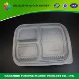 Contenitore di alimento di plastica dei 3 scompartimenti della casella rettangolare a gettare di Bento