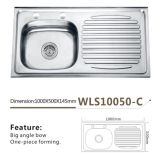 Шар раковины кухни нержавеющей стали одиночный с доской стока одна часть - Wls10050-C