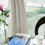 Cortina completa do Voile contínuo de linho da alta qualidade para a sala de visitas (18F0106)