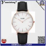 Reloj genuino de Cluse de la correa de cuero del reloj de encargo de la marca de fábrica de Japón Movt de la caja de acero inoxidable Yxl-234 para las mujeres de los hombres