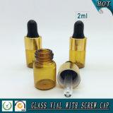 Mini botella de cristal ambarina del cuentagotas de la muestra 2ml Brown para el petróleo esencial