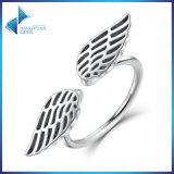 100% anel aberto do dedo da pena de 925 asas da prata esterlina