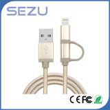 Fábrica diretamente 2 em 1 cabo trançado Certificated Mfi cobrar e de dados do USB para o iPhone e o Android (ouro)