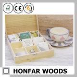 Kundenspezifischer Firmenzeichen-hölzerner Teebeutel-Speicher-Geschenk-Kasten mit Fächern