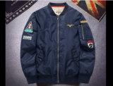 冬の季節の100%年のポリエステルTwill/PUコーティングのパイロットのボマージャケット