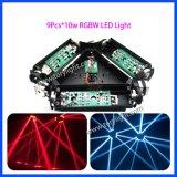 La tri testa mobile DJ del ragno 9PCS*10W della fase LED di colore si illumina