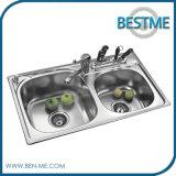 Dissipador de cozinha quente da bacia do dobro do aço inoxidável da venda (BS-955)
