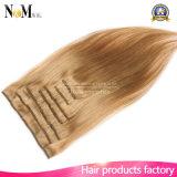 Clip de lujo principal lleno en el clip blanco rubio más ligero de las extensiones 140g 180g 220g 260g del pelo en la extensión del pelo
