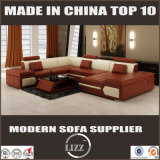 Sofá moderno secional do couro da forma da mobília U dos projetos ajustados do sofá