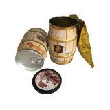 Kaffee-Zinn-runder Riemen-Form-Kaffee-Blechdose-Plastikkappen-Großverkauf-Kaffee-Kasten