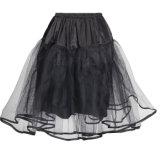 Enagua barata Chiffon del oscilación de Tulle del mini del tutú de las mujeres negro de la falda