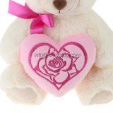 Valentine Gift Pink Heart Branco Recheado Soft Plush Toy Teddy Bear